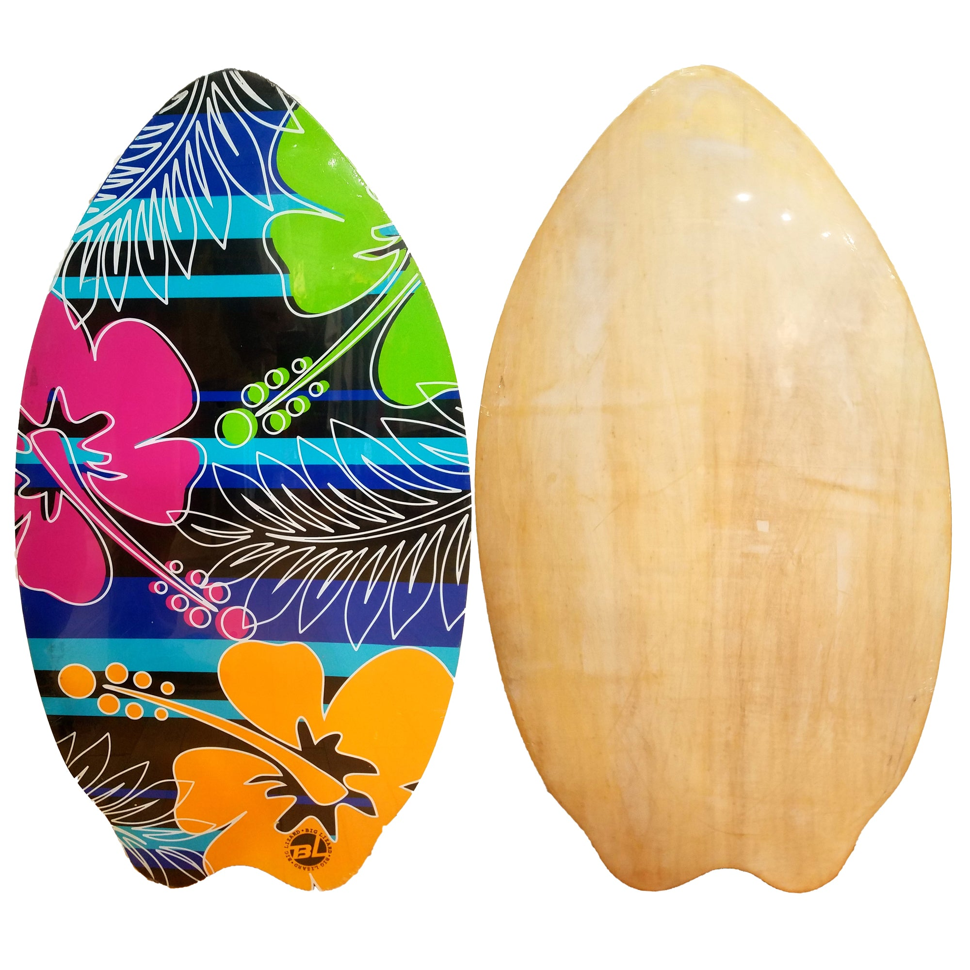 "Big Lizard 37"" Fish Wooden Skimboard - Multicolored Floral"