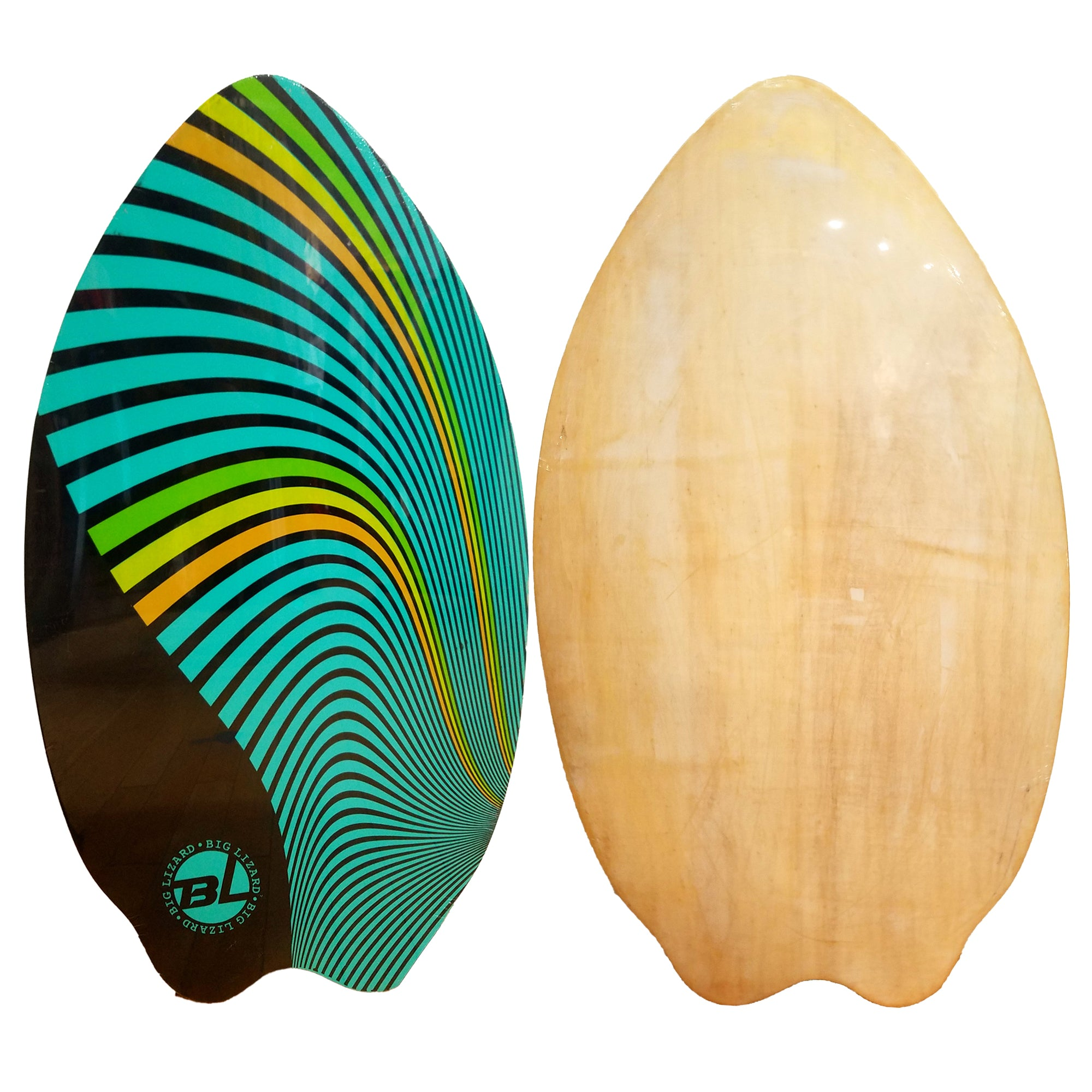 "Big Lizard 37"" Fish Wooden Skimboard - Multicolored Stripes"