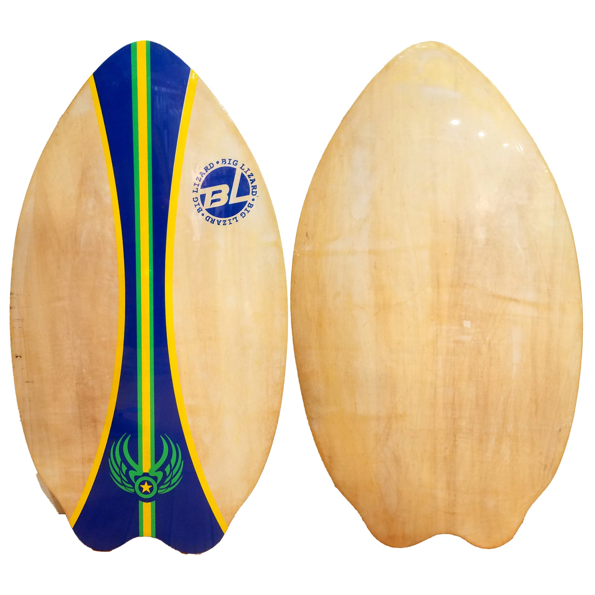 "Big Lizard 37"" Fish Wooden Skimboard - Natural/Blue/Green/Yellow"
