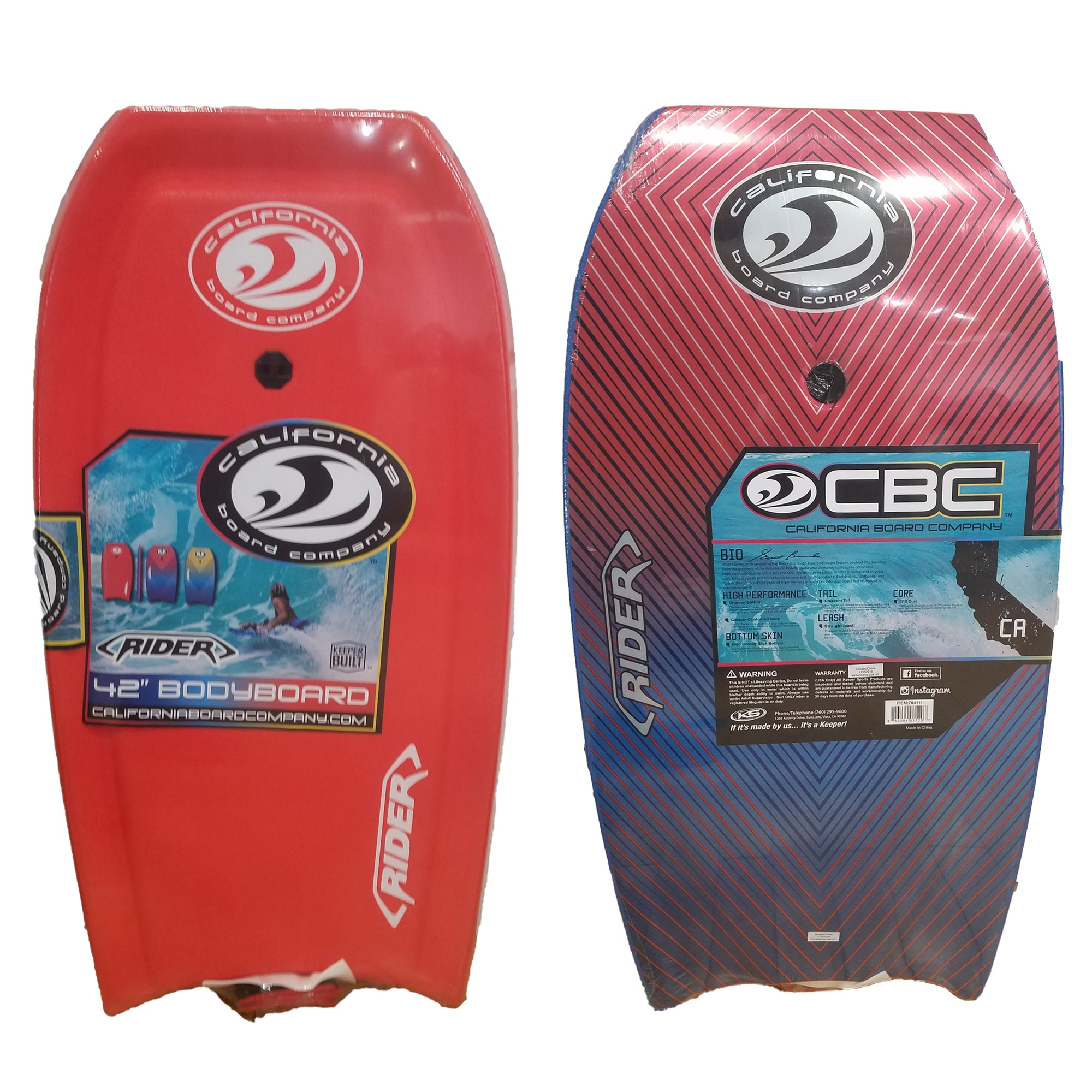 "California Board Company Rider 42"" Bodyboard - Red / Blue"