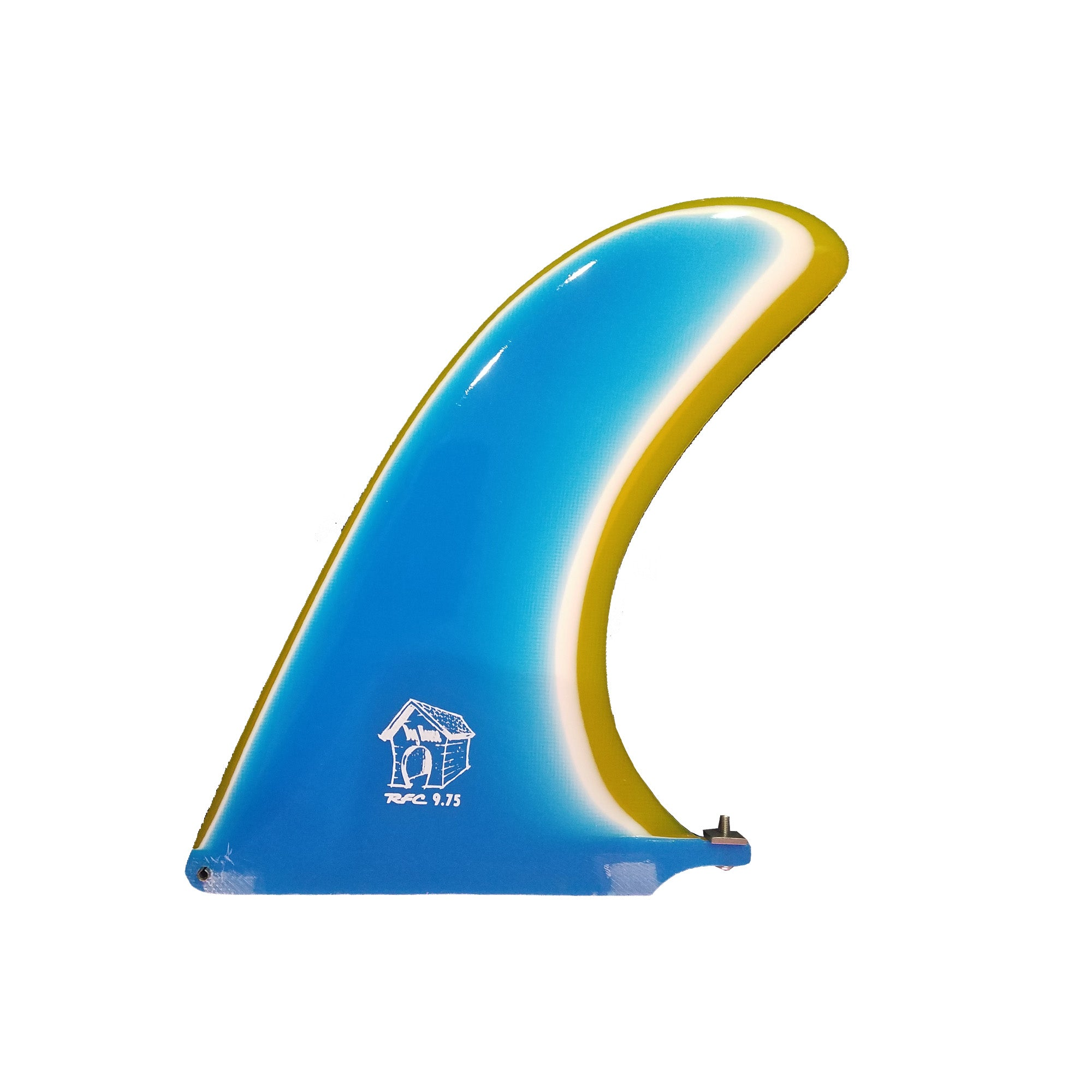 "Rainbow Fin Company Dog House Longboard Fin - 9.75"" - Aqua/Yellow"