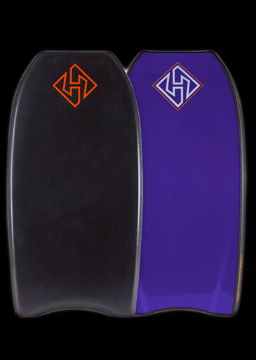 Hubboards Hubb PP Pro 42'' Polypro Crescent Tail Bodyboard, Black/Purple