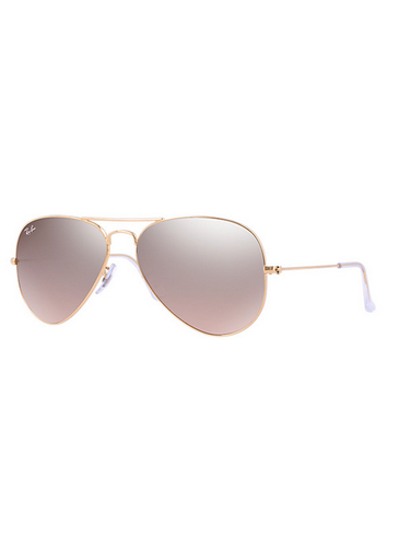 Ray-Ban Aviator Gradient Women's Sunglasses - Gold Frame/Silver Pink Mirror Lens