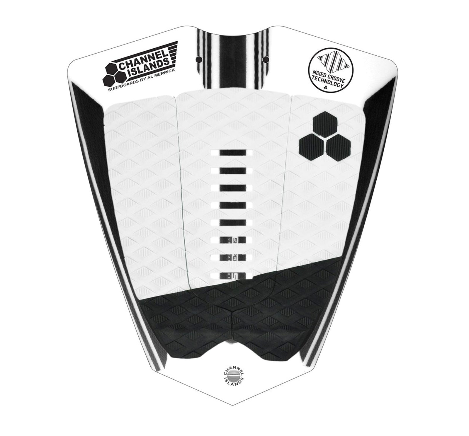 Channel Islands Mixed Groove 3-Piece Traction Pad - White/Black