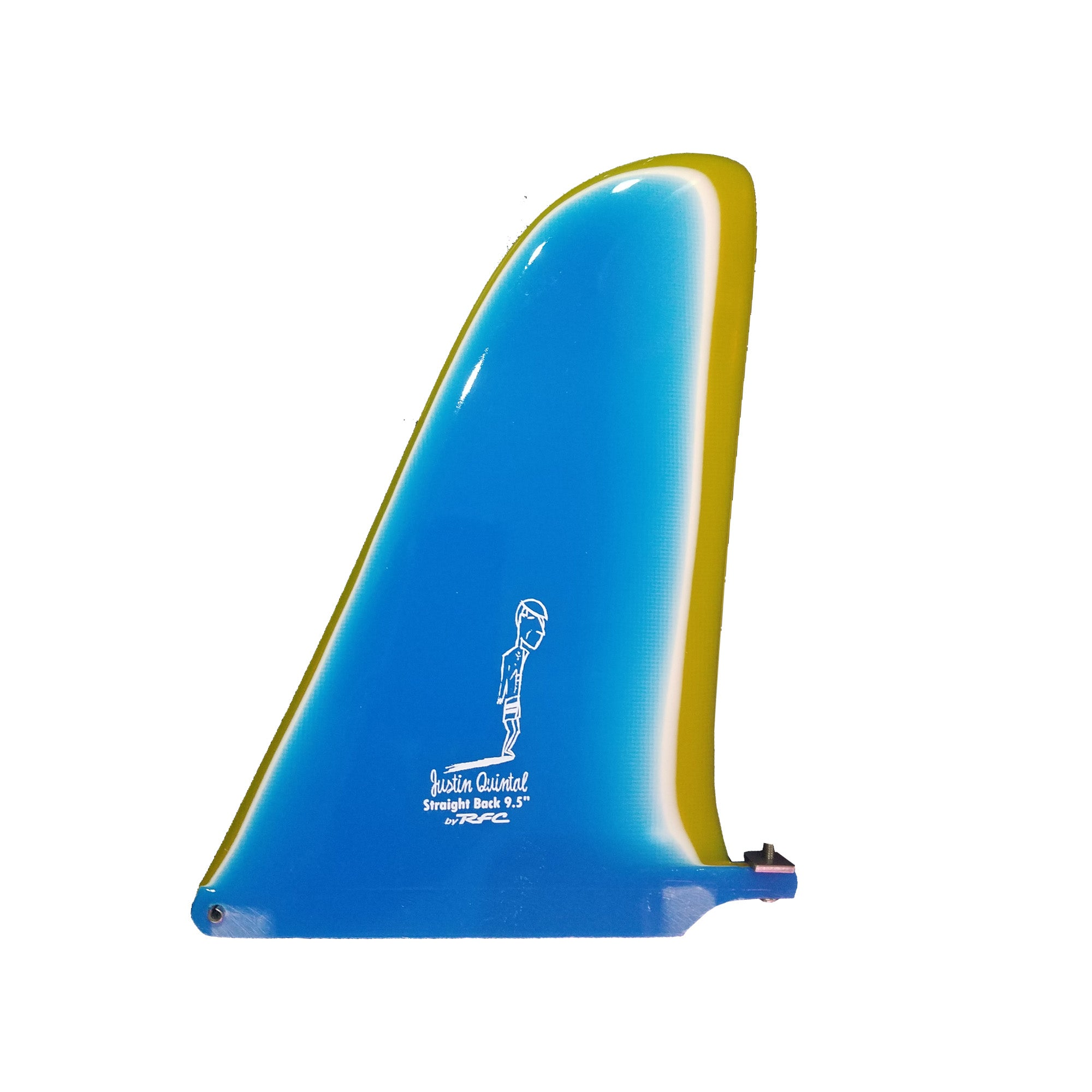 "Rainbow Fin Company Justin Quintal Straight Back 9.5"" Longboard Fin - Aqua/Yellow"