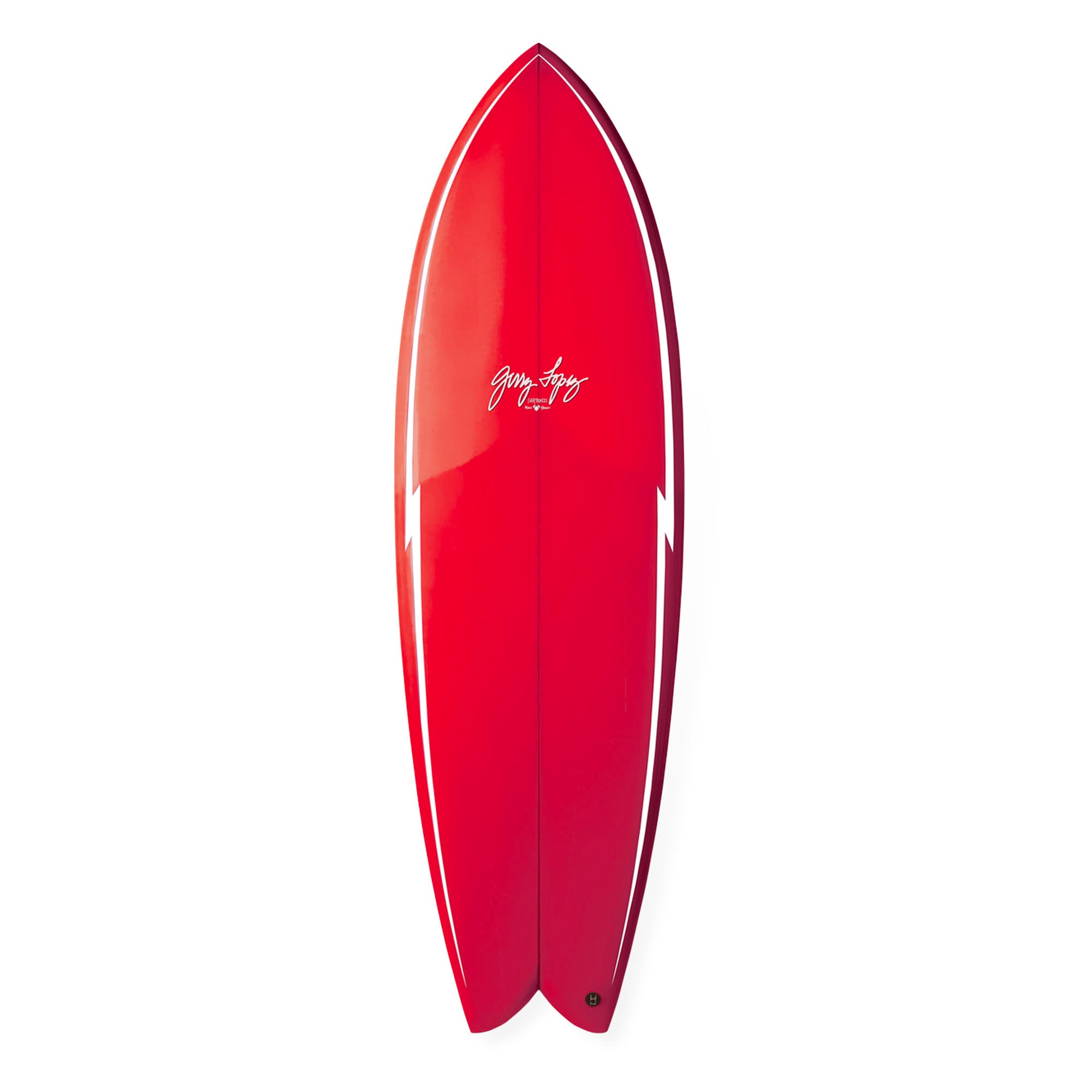 Gerry Lopez Something Fishy Quad Surfboard in gloss red