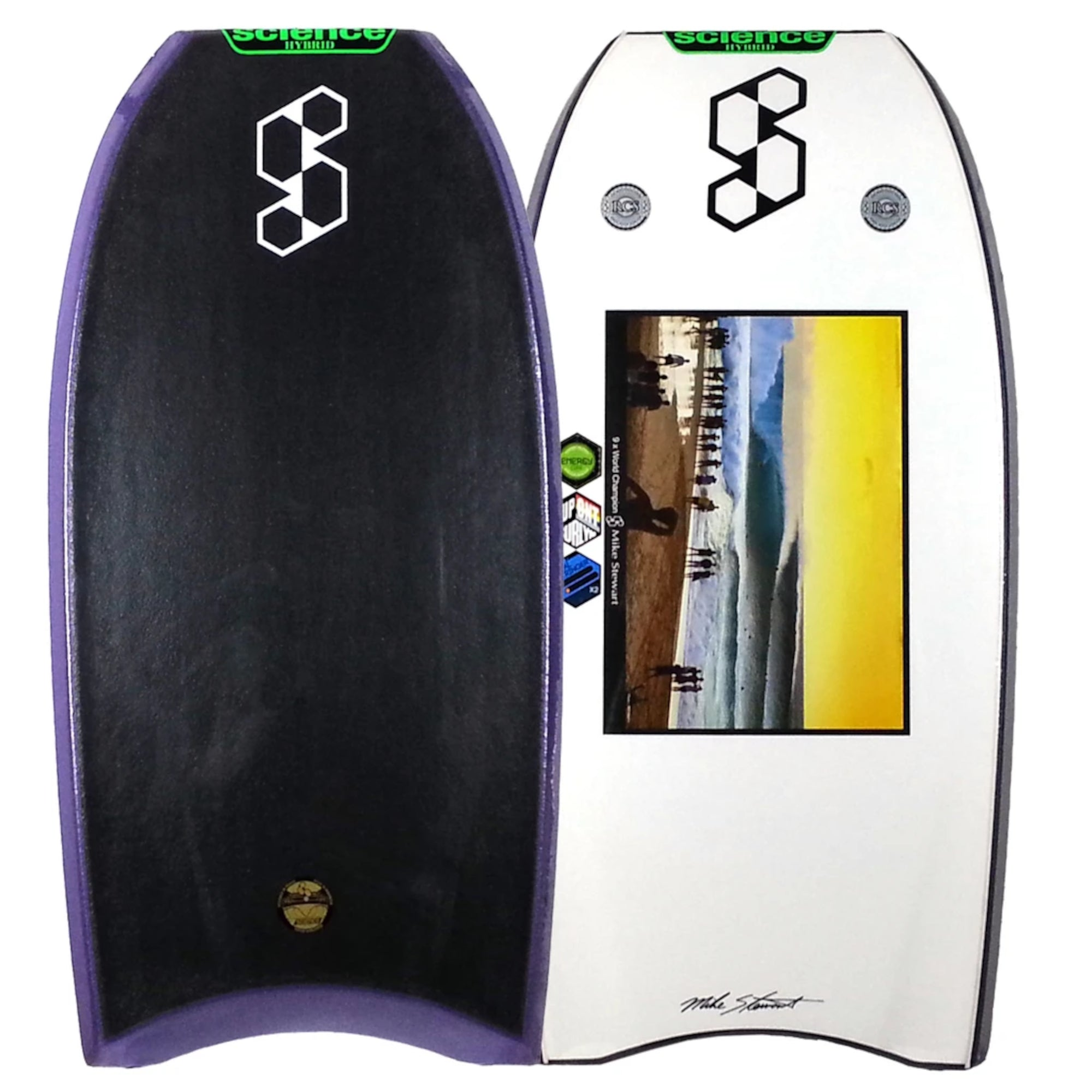 "Mike Stewart Hybrid 2X 41"" Bodyboard - Black/Purple/White"