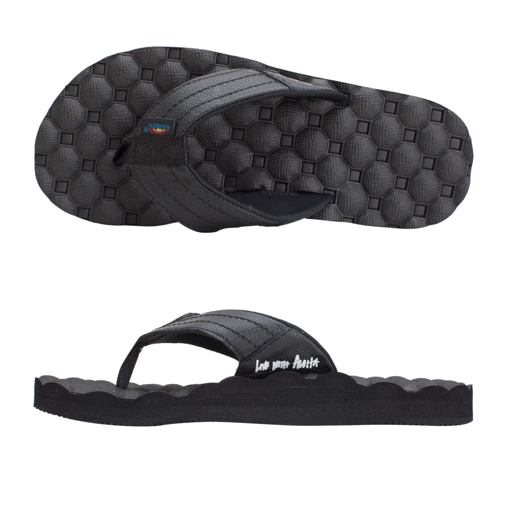 Rainbow Holoholo Gerry Lopez Rubber Signature Men's Sandals - Black