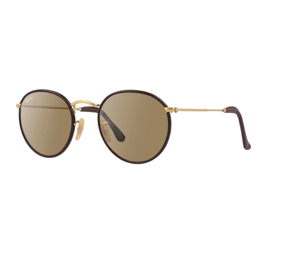 457fb0b738 Ray-Ban Round Craft Leather Women s Sunglasses - Brown Frame Brown w Yellow  Lens