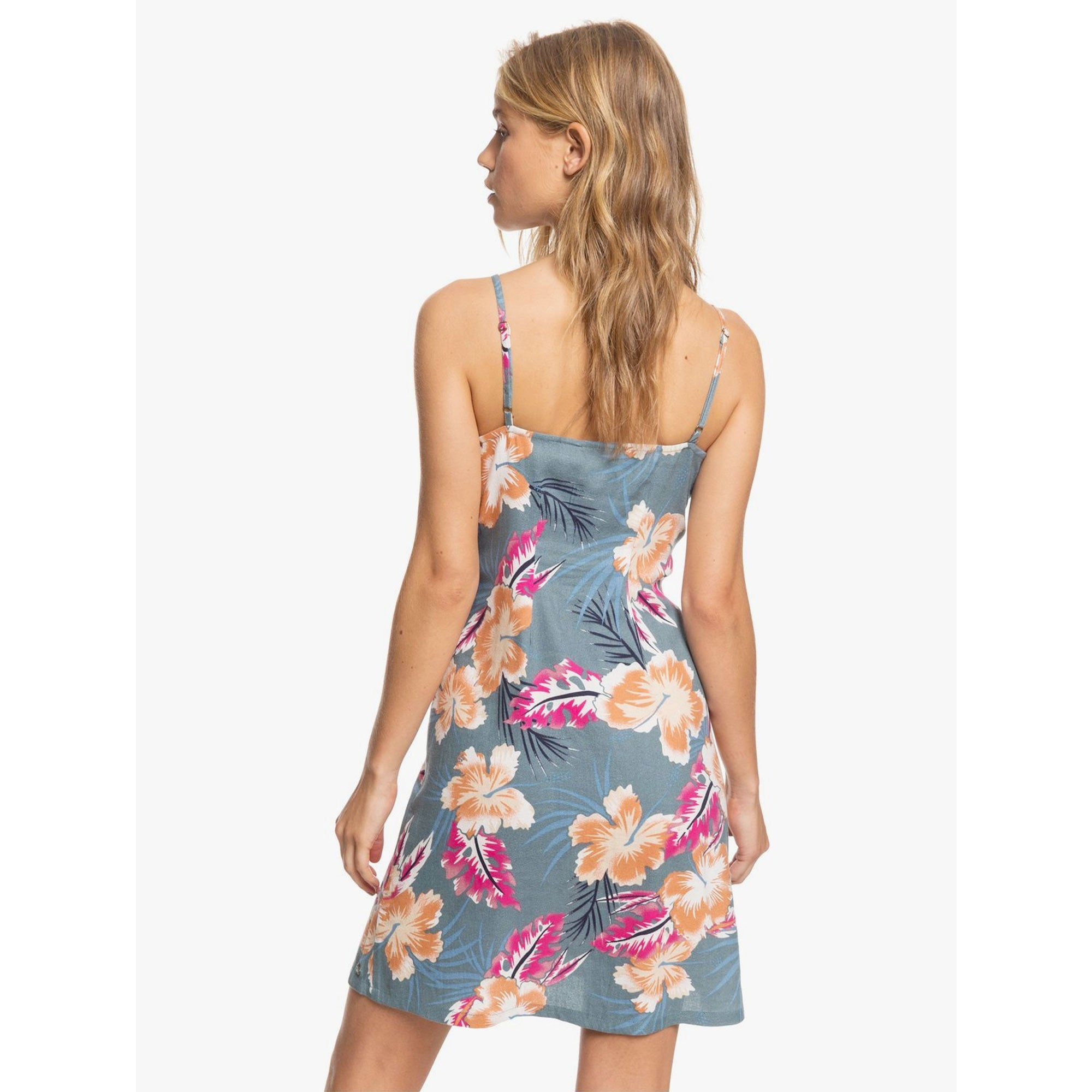 Roxy Sweet About Me Women's Printed Strappy Buttoned Dress