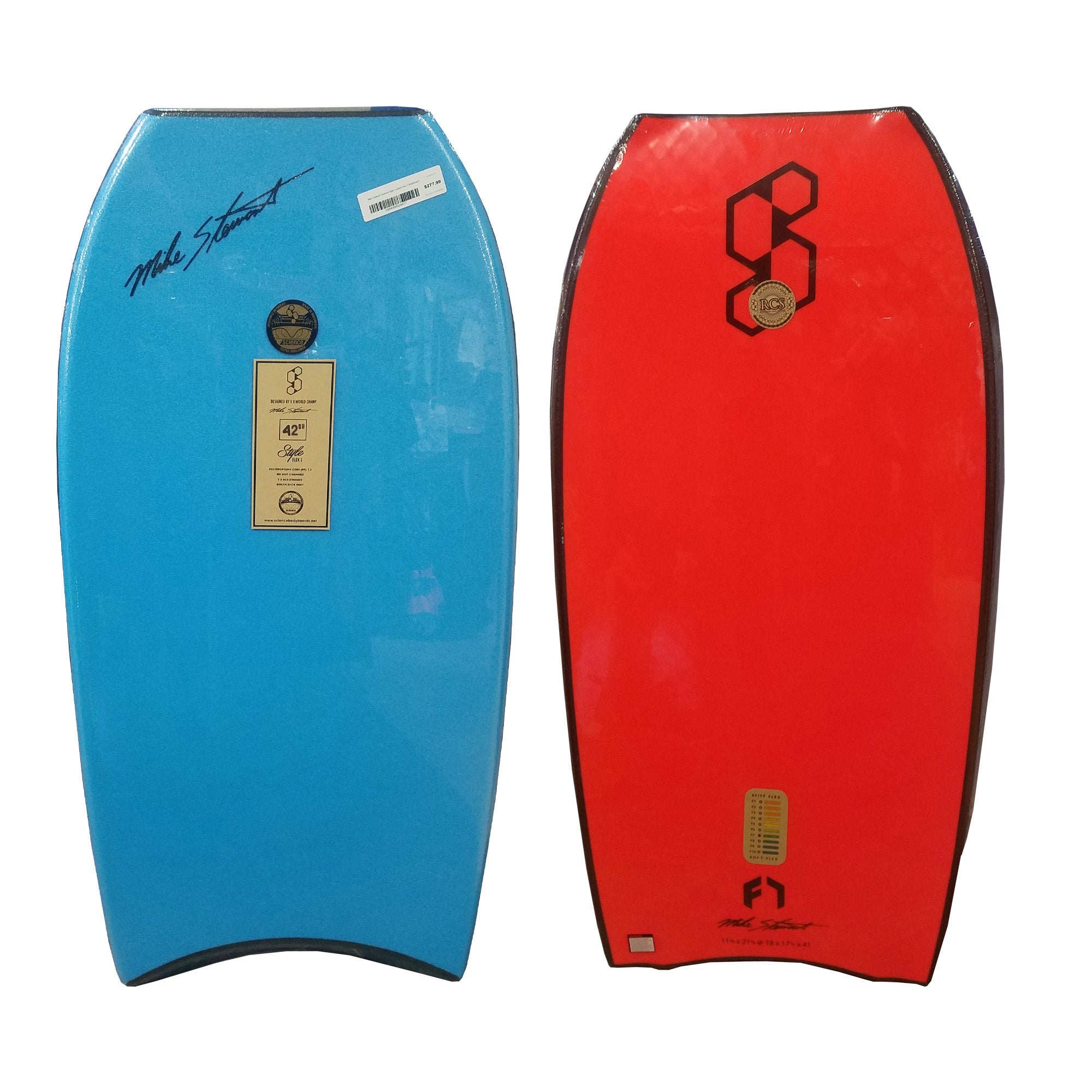 "Mike Stewart Science Style Loaded Quad Vent Crescent Tail 42"" Bodyboard - Aqua/Red"