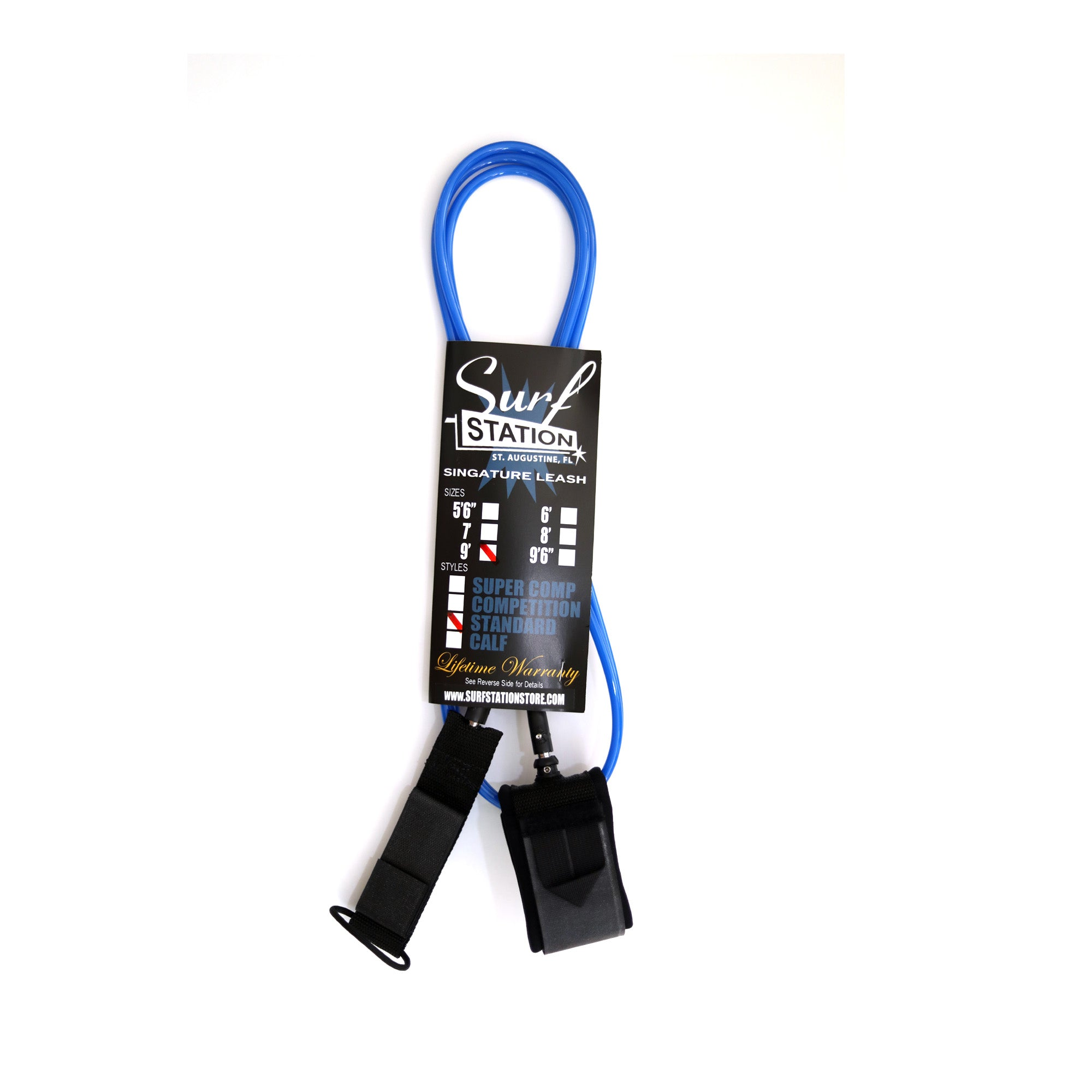 Surf Station Signature 9' Calf Leash - Dark Blue