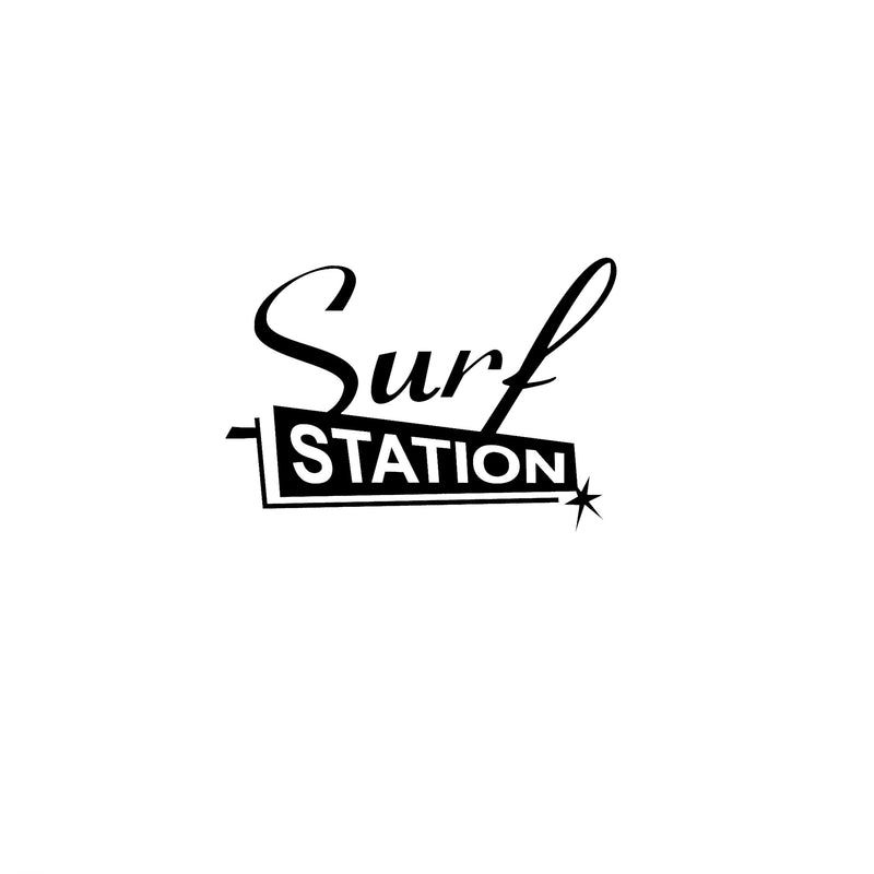 Surf Station Black Dye Cut Sticker