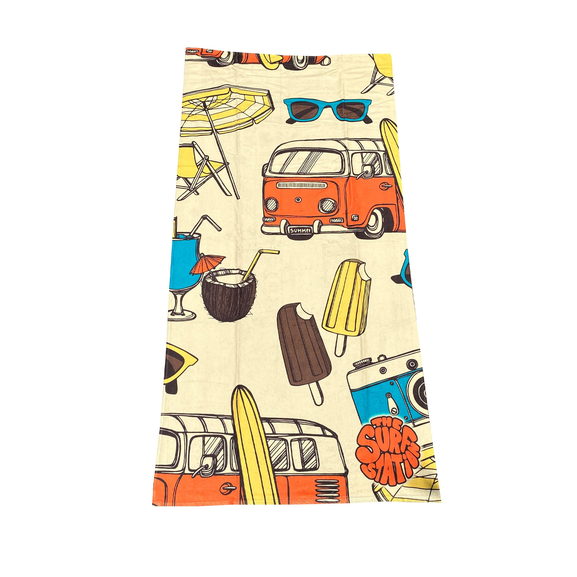 Surf Station Slant Six Beach Towel - Yellow