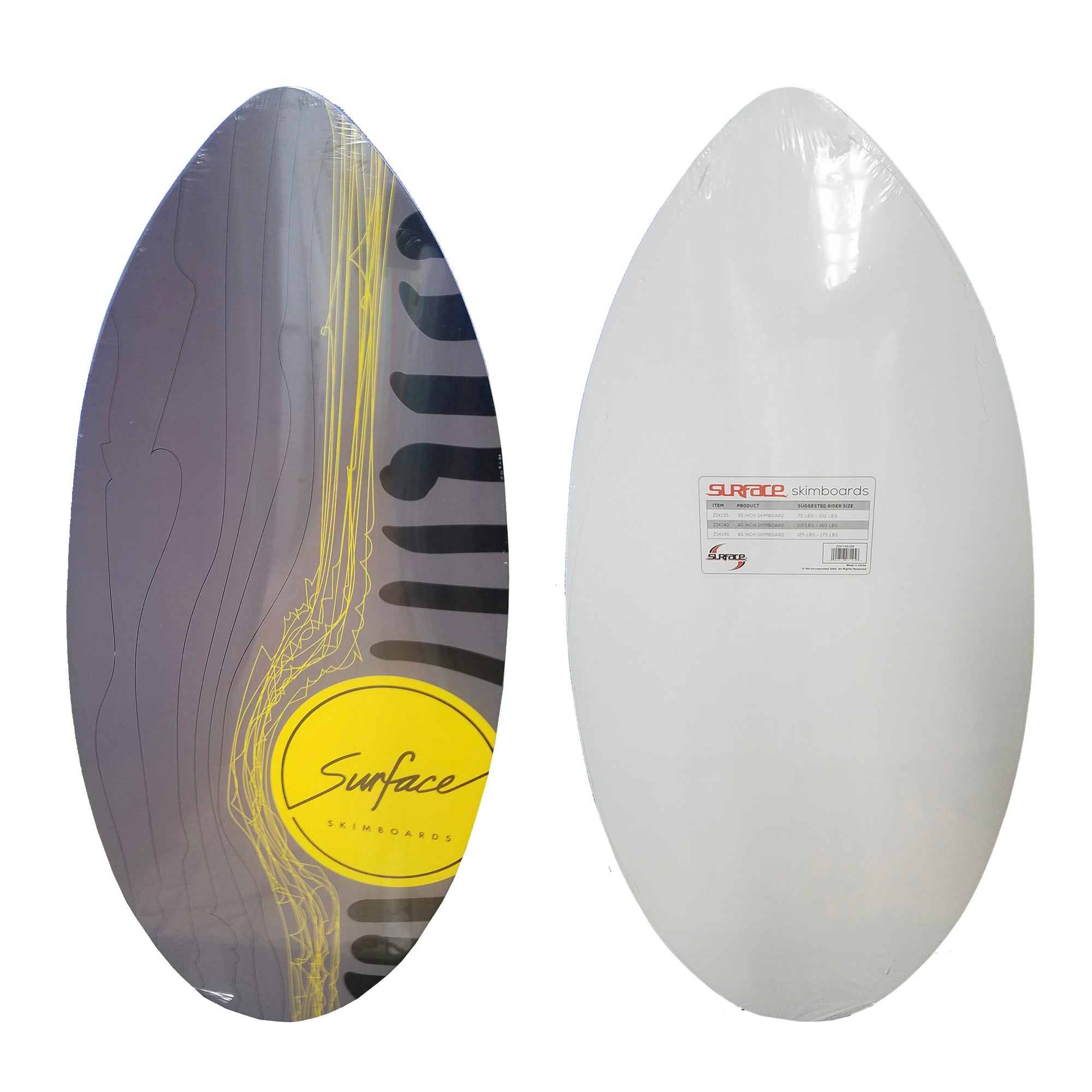 "Surface 45"" Wood Skimboard - Grey/Yellow"