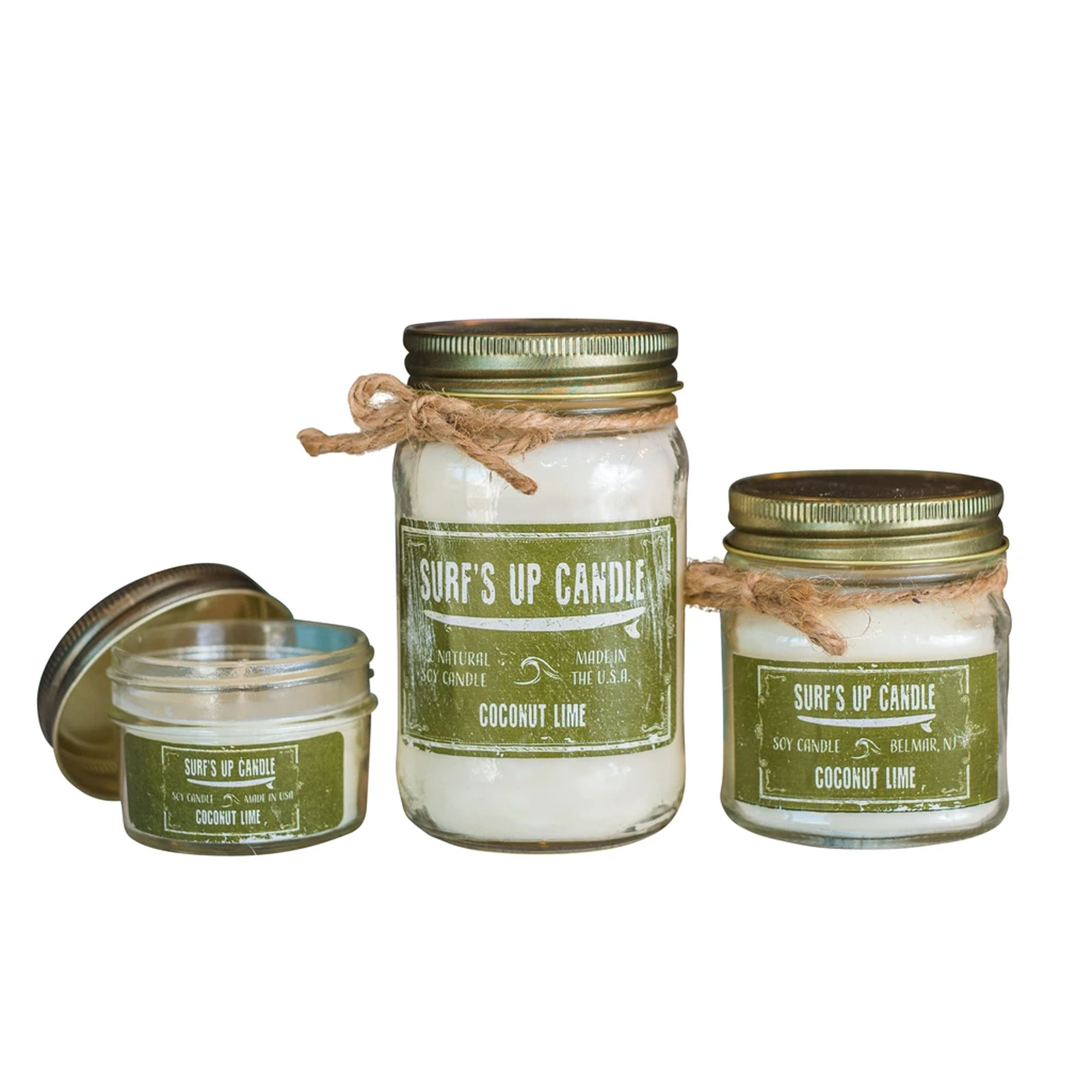 Surf's Up Mason Jar Soy Candle - Coconut Lime