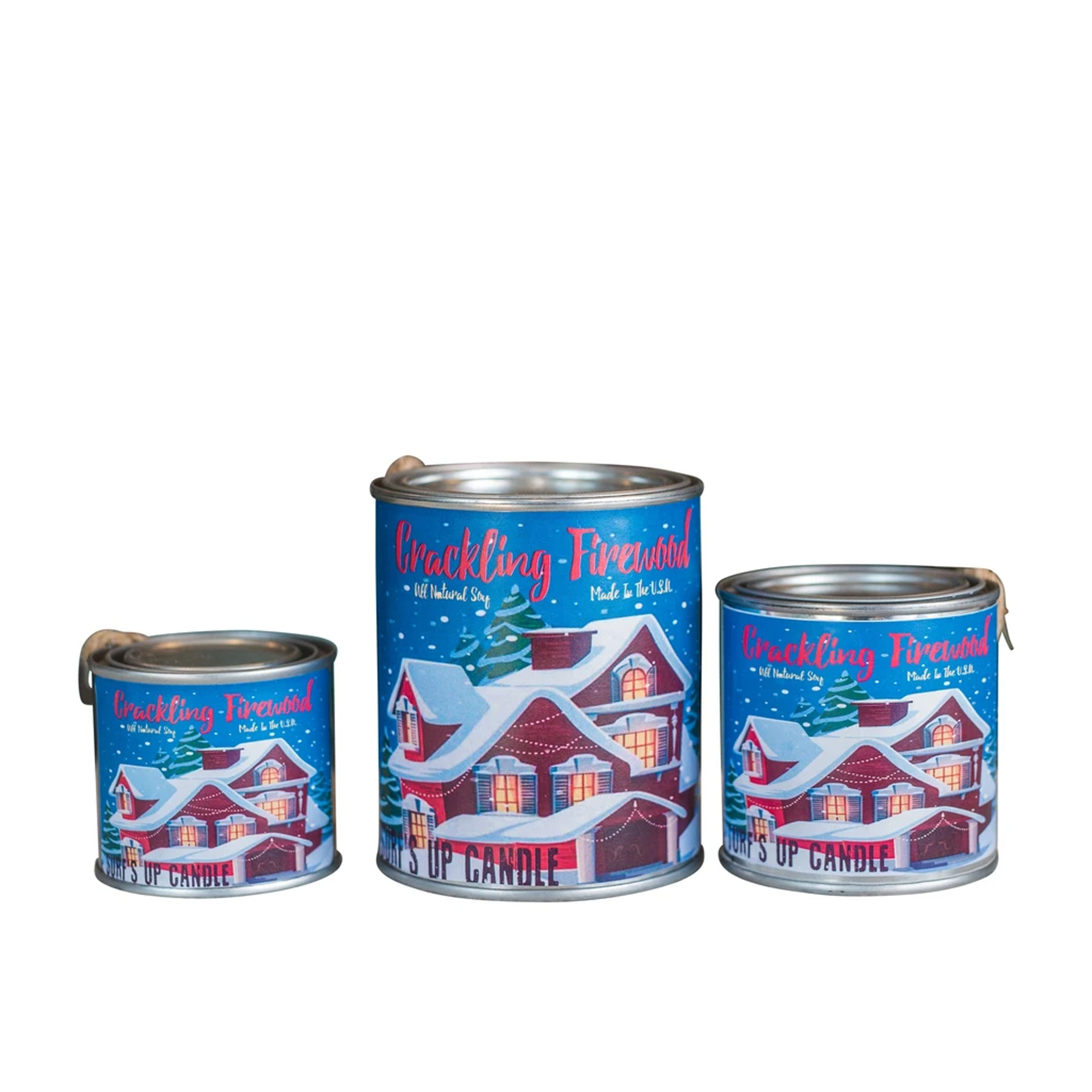 Surf's Up Seasonal Paint Can Soy Candle - Crackling Firewood