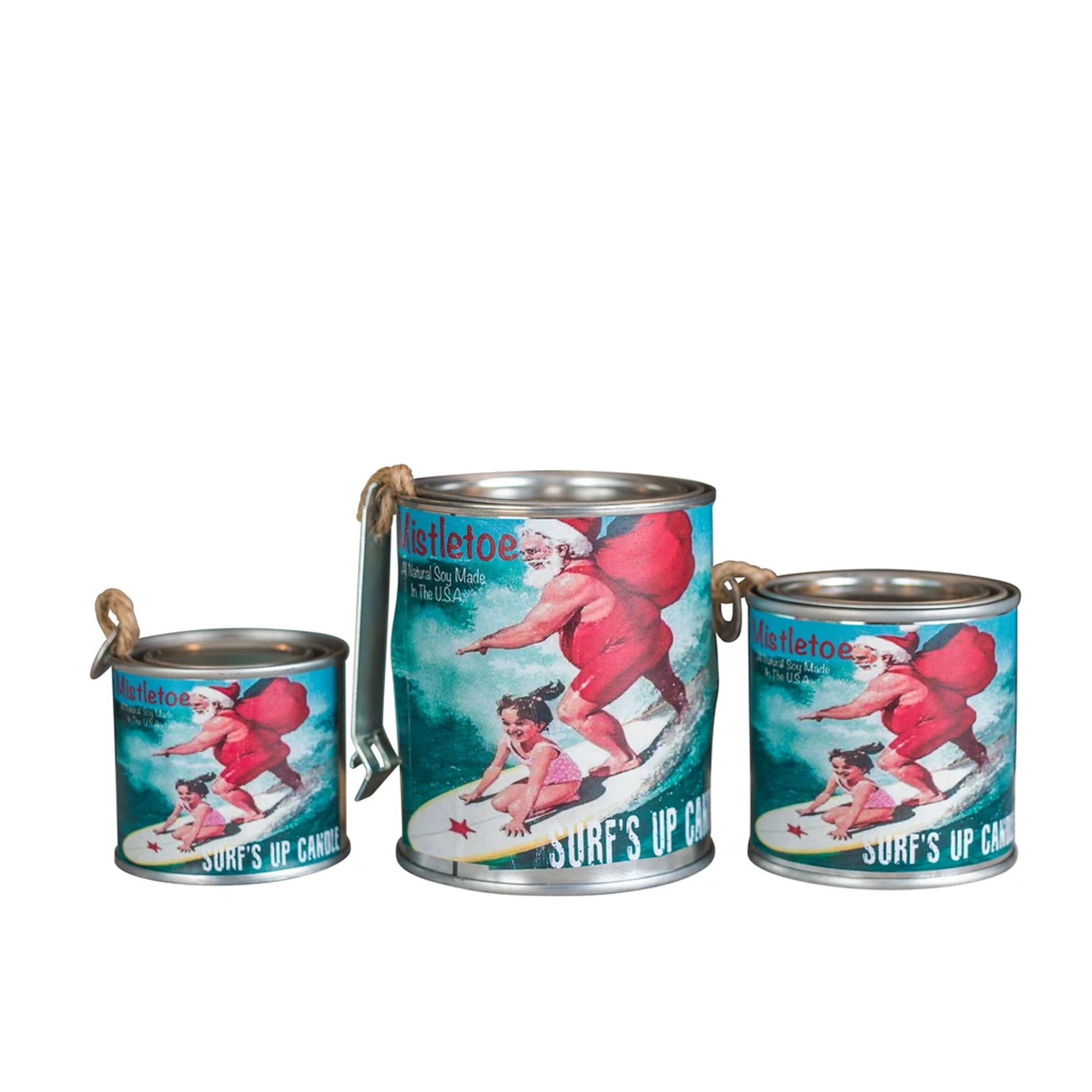 Surf's Up Seasonal Paint Can Candle - Mistletoe Surfing Santa