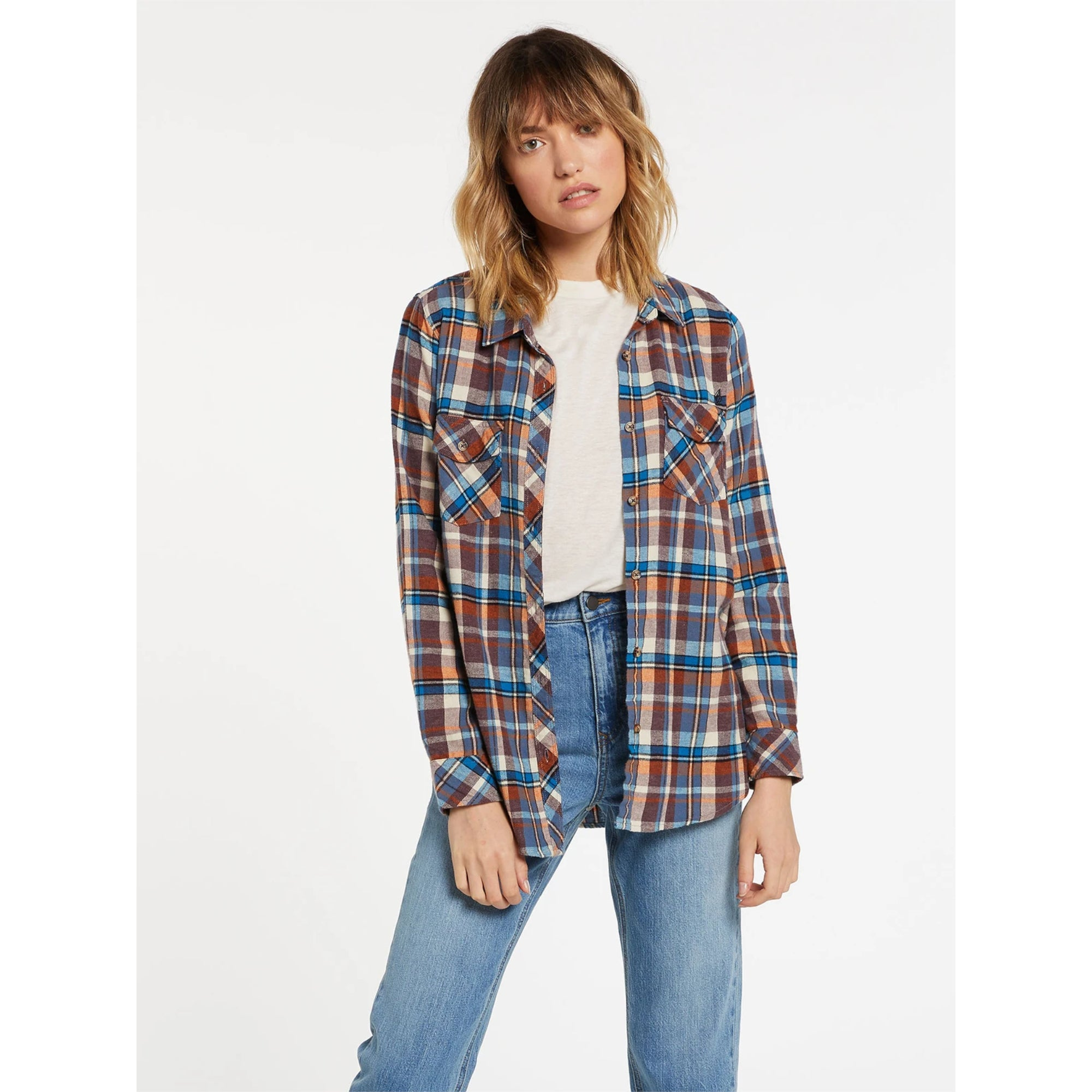 Volcom Getting Rad Plaid Women's L/S Flannel Shirt