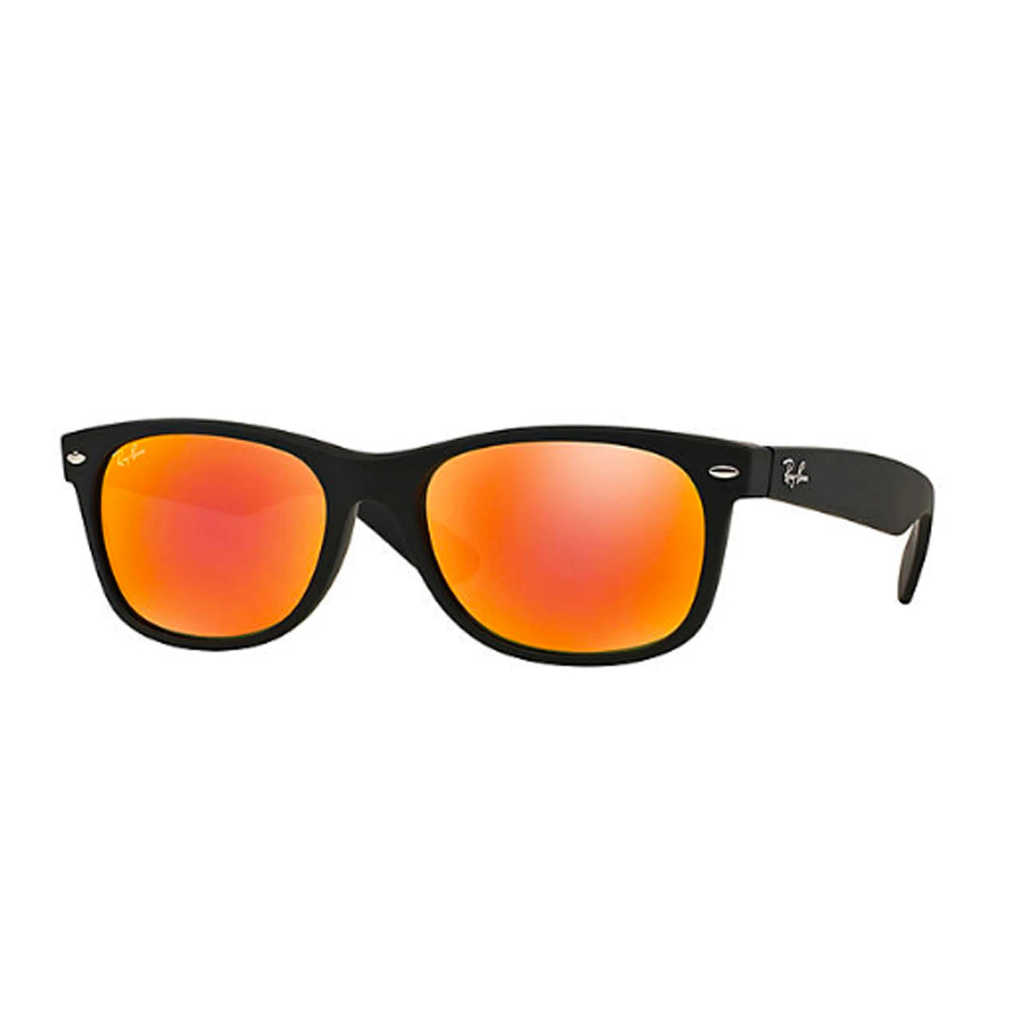 Ray-Ban New Wayfarer Men's Sunglasses - Rubber Black/Mirror Flash Orange