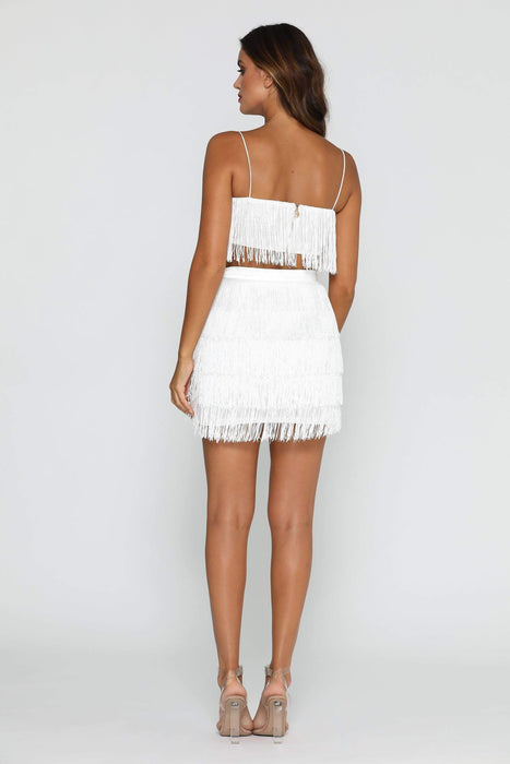 Vivian Tassle Dress White