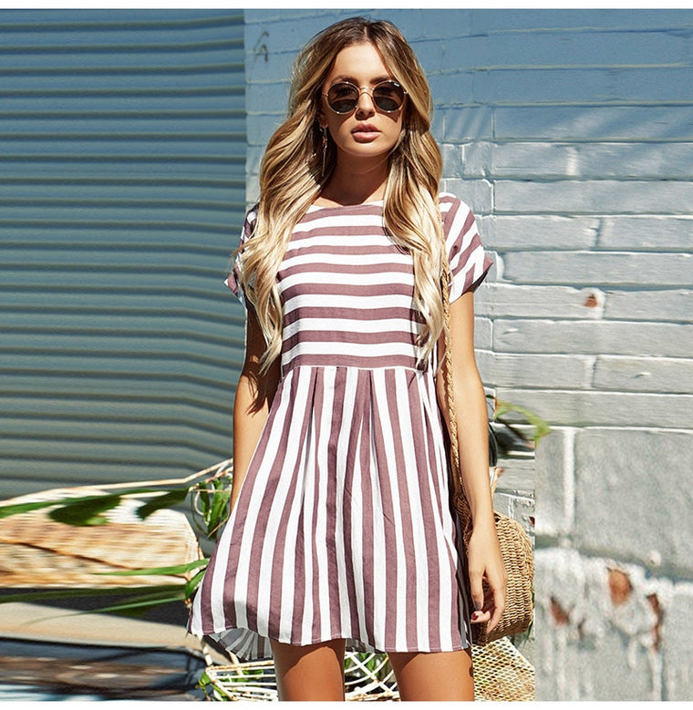 Maisha Stripe Dress Blush