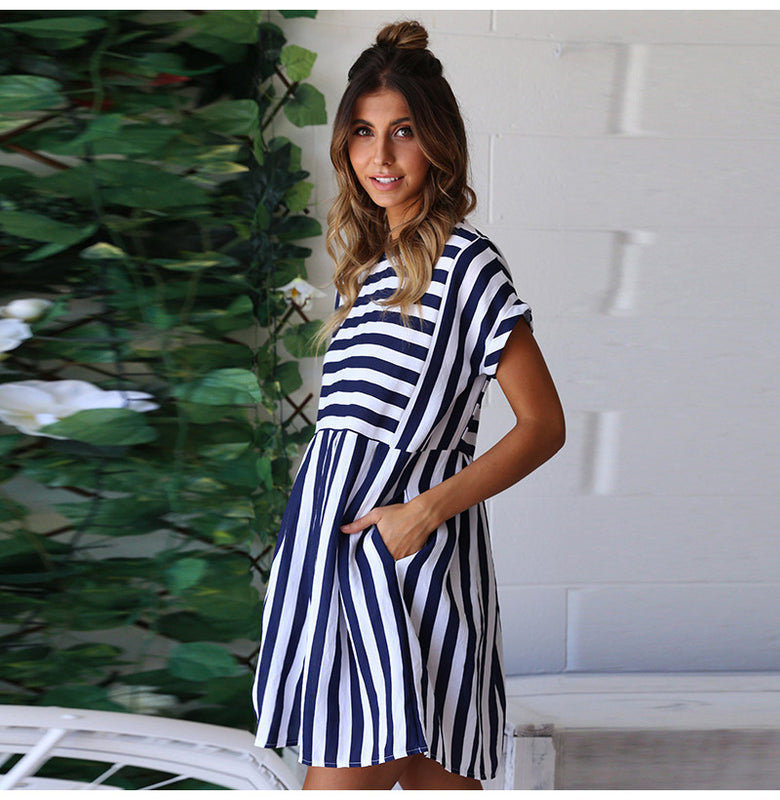Maisha Stripe Dress Blue