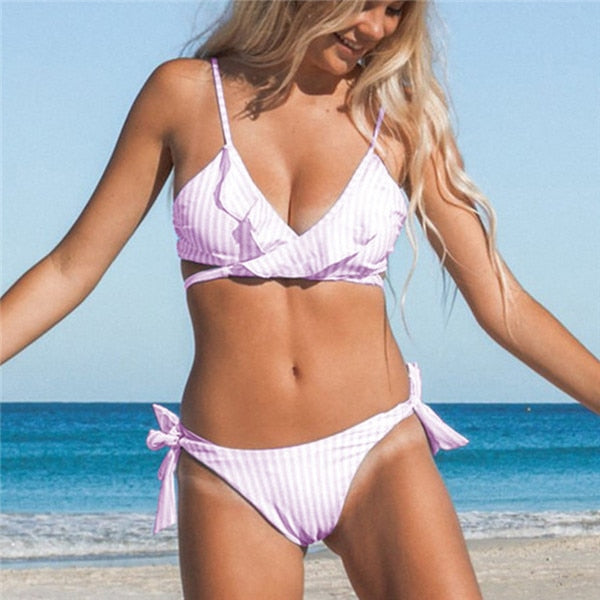 Ruffle Striped Bikini