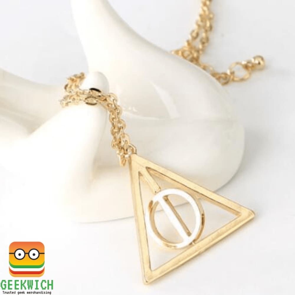 Hp Deathly Hallows Pendant Jewelry - Gold - Gadget $4.99 Geekwich