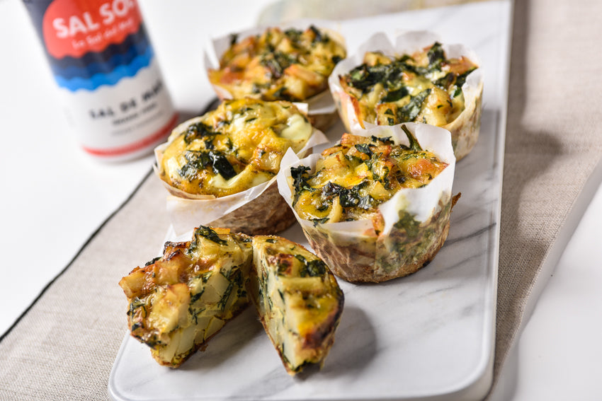recetas faciles: mini quiches de papa y espinaca