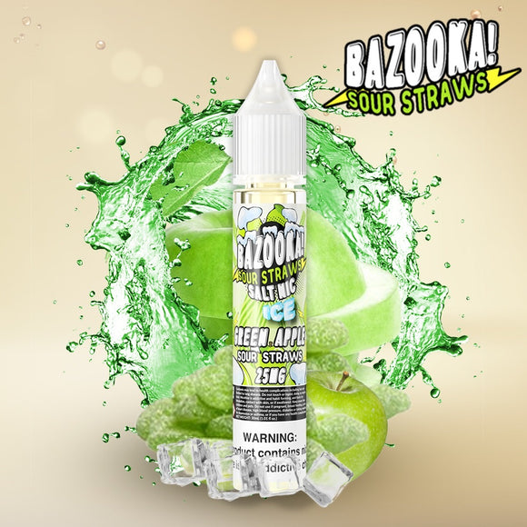 Green Apple Ice Sour Straws - Bazooka SaltNic