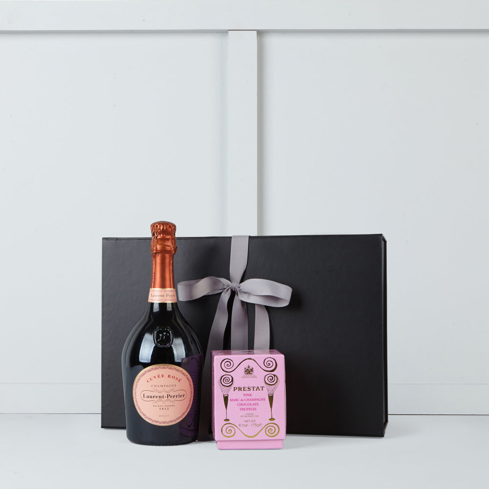 Image of bottle of Laurent Perrier rose champagne & pink Marce de Champagne truffles