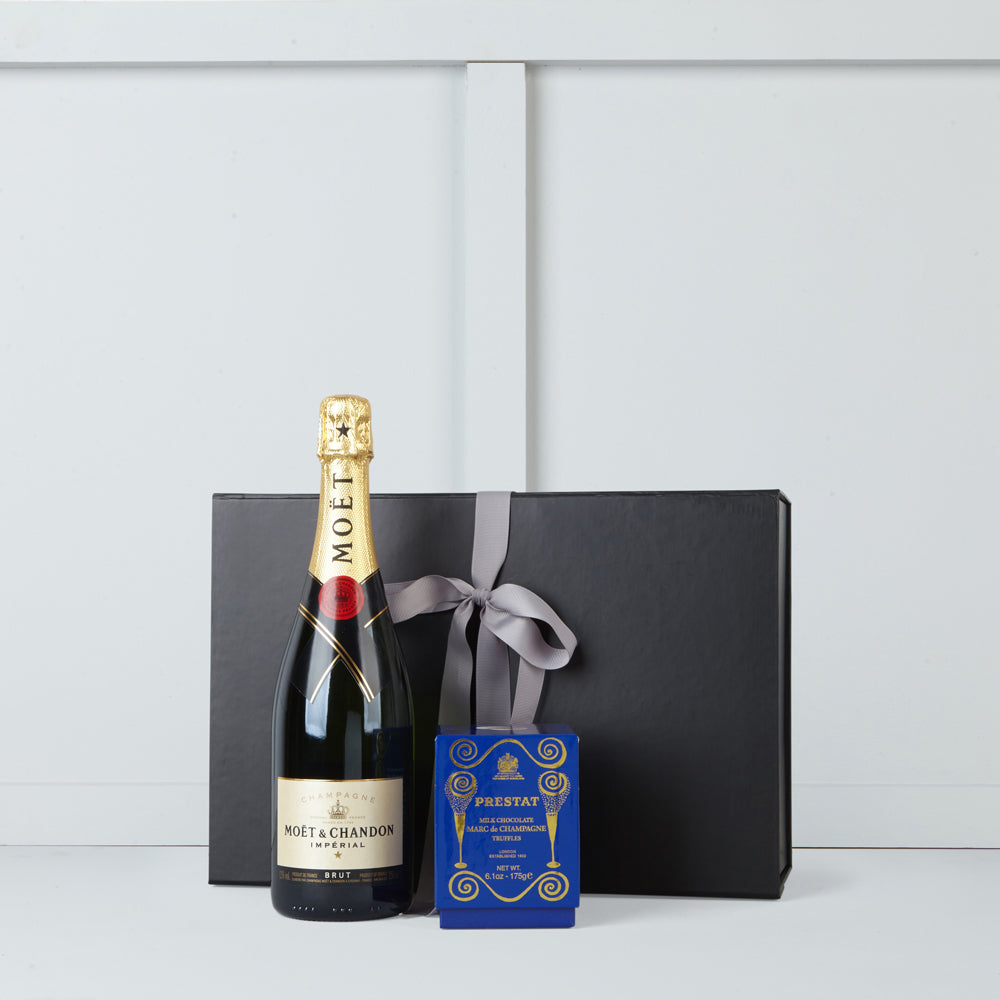 Image of bottle of Moet et Chandon champagne & Marc de Champagne Truffles