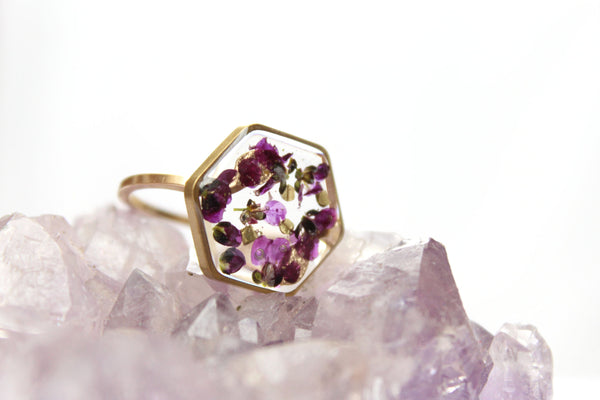 Purple Alyssum Ring, 14k Gold Filled and Brass