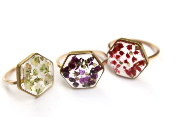 Purple Alyssum Ring, 14k Gold Filled and Brass - Mallet & Mandrel