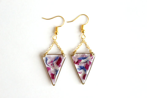 Mixed Flower Earrings, Triangle