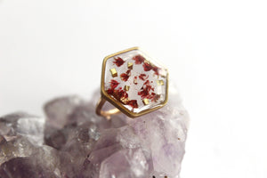Red Baby's Breath Ring, 14k Gold Filled and Brass - Mallet & Mandrel