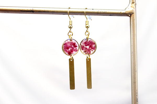 Flower Dangle Earrings - Roses, Bougainvillea, Lavender - Mallet & Mandrel