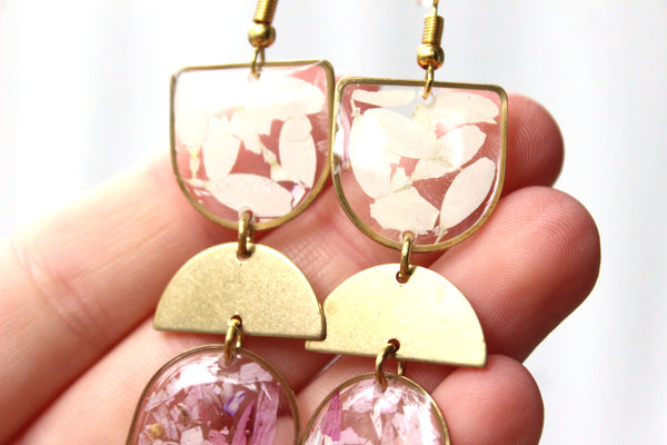 Daisy Earrings, Pink and White - Mallet & Mandrel