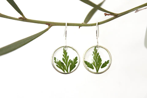 Fern Earrings, Sterling Silver