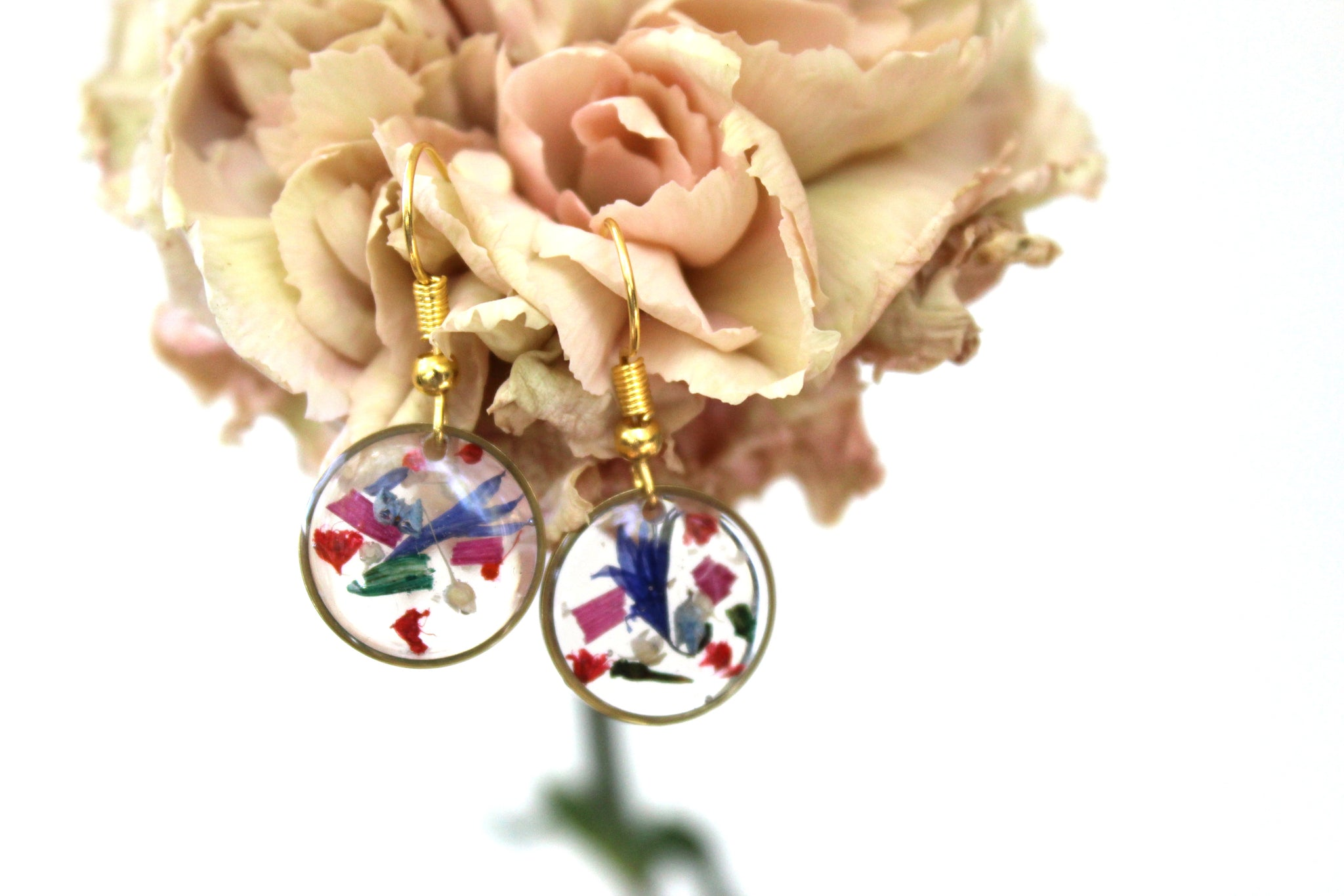 Mixed Flower Earrings, small round - Mallet & Mandrel