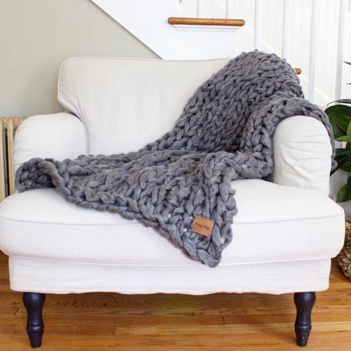 Arm Knit Blanket | Chunky Throw | Knit Throw | 53
