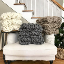 "Arm Knit Blanket | Chunky Throw | Knit Throw | 53"" by 34"" 