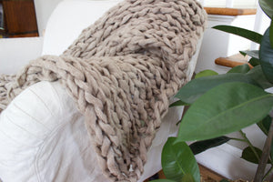 "Knitting Kit | DIY Arm Knitting Kit | Chunky Throw | 53"" by 34"" 