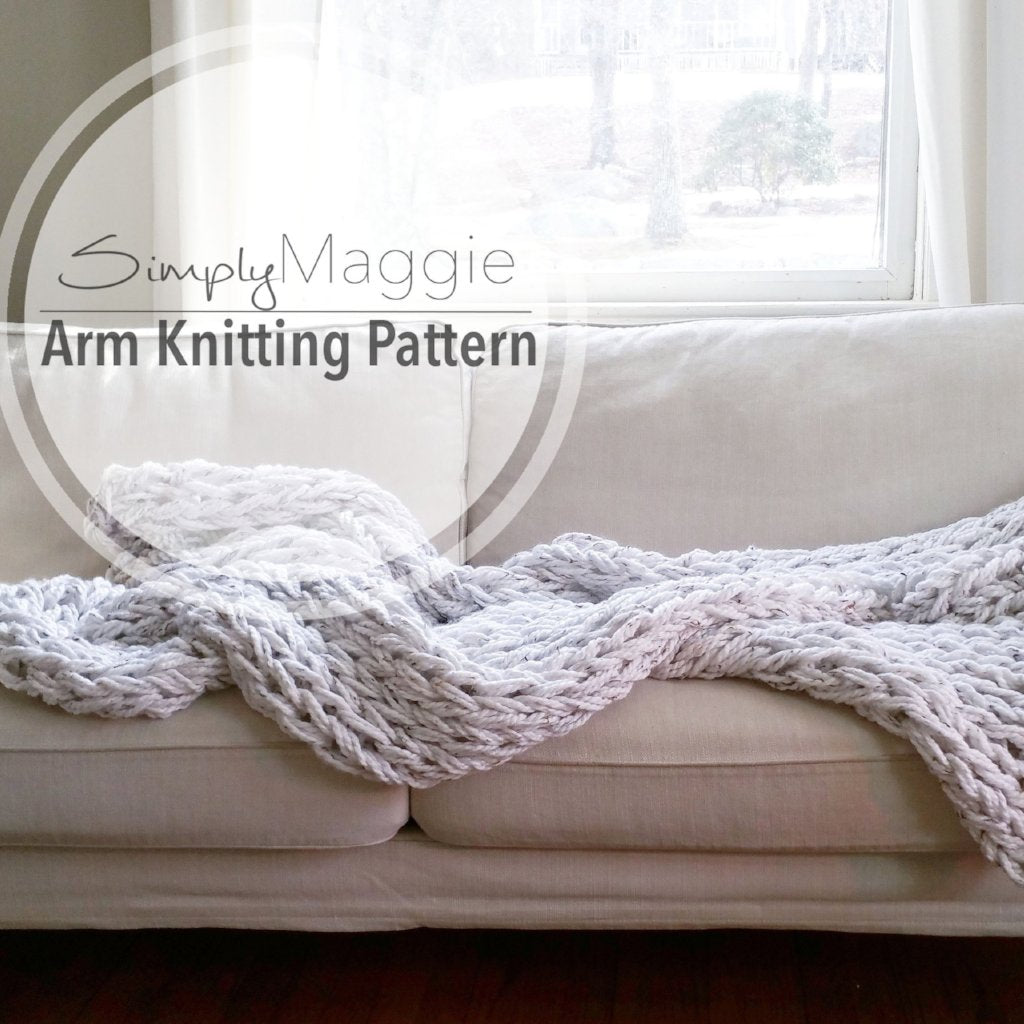 The BIG Arm Knit Blanket Pattern | Beginner's Pattern | Chunky Blanket | Simply Maggie | 90