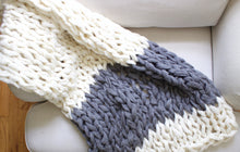 "Arm Knitting Pattern | Color Block Throw | Chunky Throw | Knit Blanket  | Beginner's Pattern | Simply Maggie | 55"" by 36"""