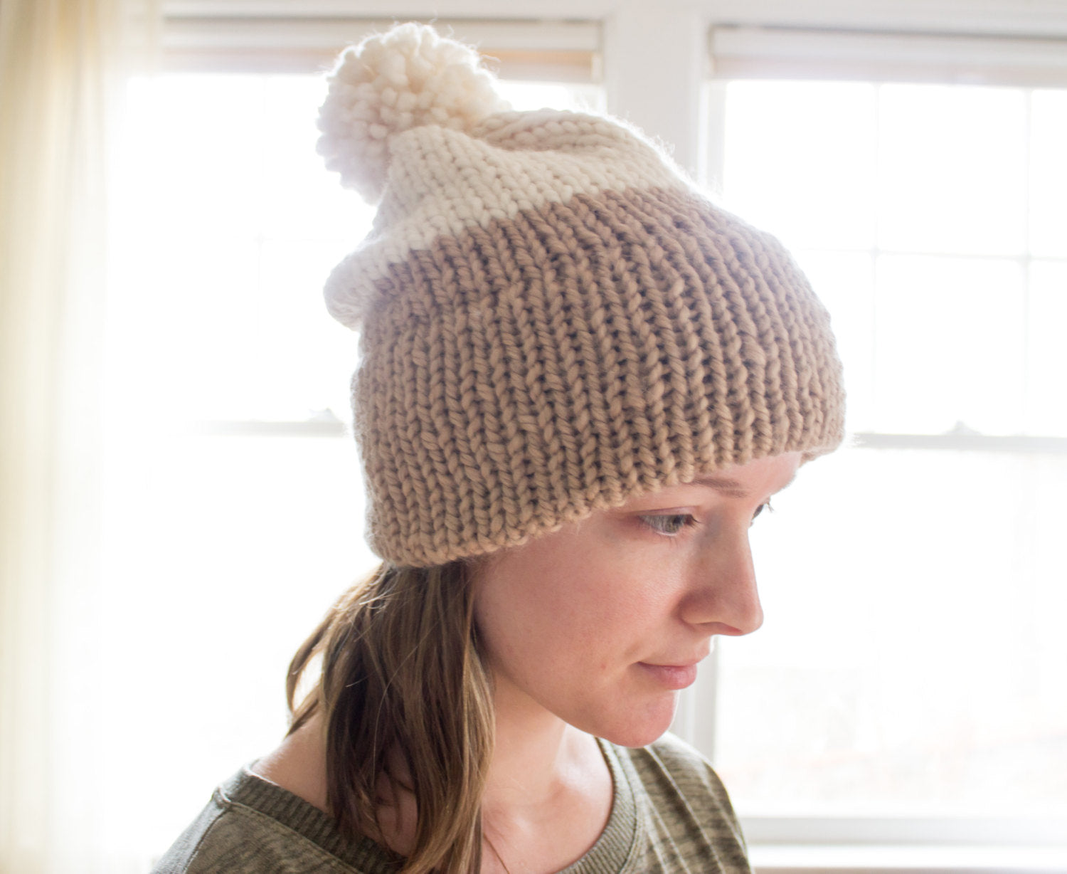 Knitting Pattern | Double-Knit Brim Slouchy Beanie | Knit Beanie ...