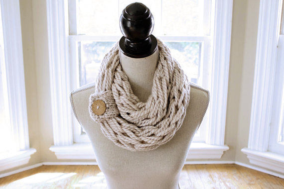 Arm Knitting Pattern Infinity Scarf Chunky Scarf With Button