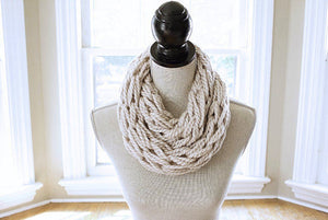 Arm Knitting Pattern | Infinity Scarf | Chunky Scarf | with Button Cuff | Beginner's Pattern | Simply Maggie