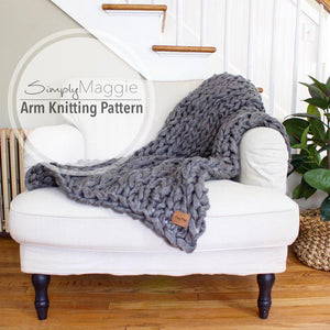 "Arm Knitting Pattern | Chunky Throw | Knit Blanket  | Beginner's Pattern | Simply Maggie | 56"" by 34"""